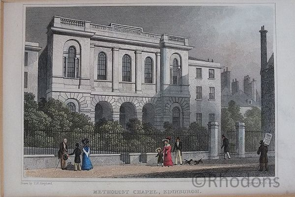 Methodist Chapel, Edinburgh, Antique Print, Tho H Shepherd / S Lacey