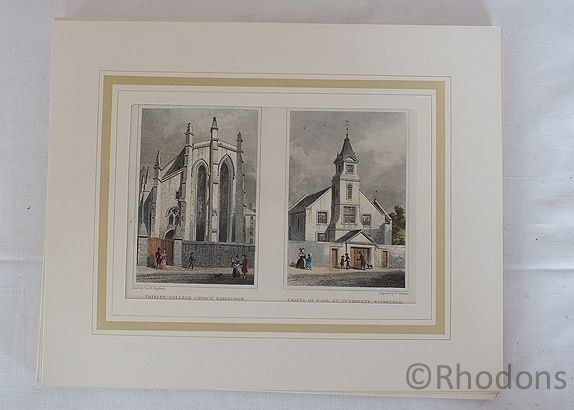 Trinity College Church And Chapel Of Ease St Cuthberts, Edinburgh, Antique Print, Tho H Shepherd / W Watkins