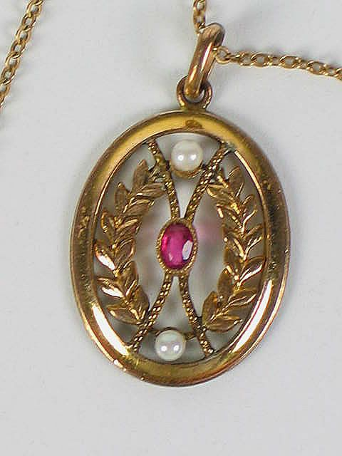 Antique Gold Necklace Pendant, Garnet & Seed Pearls