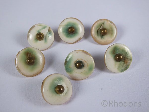 Buttons, Antique Hand Crafted Mother Of Pearl, Set of 7