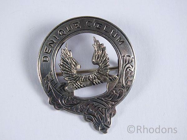 Scottish Silver Clan Brooch, Plaid Brooch, Necklace Pendant, Melville Clan (?)