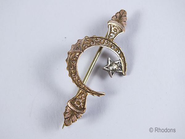 Victorian Star & Crescent Moon Brooch