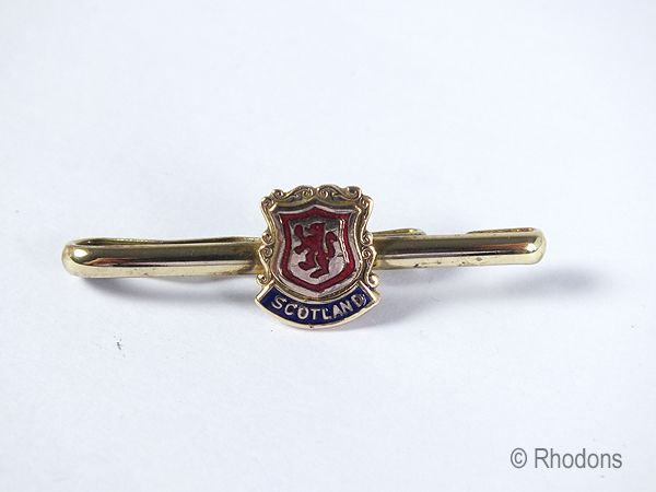 Gilt & Enamel Tie Clip, Souvenir of Scotland