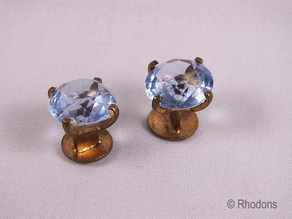Cufflinks, Vintage Blue Glass & Gilt Metal Mens Cuff Links, Early 1900s