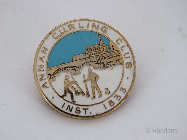 Annan Curling Club Enamel Badge