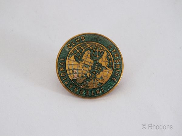 International Club Ayrshire Vintage Enamel Lapel Pin Badge