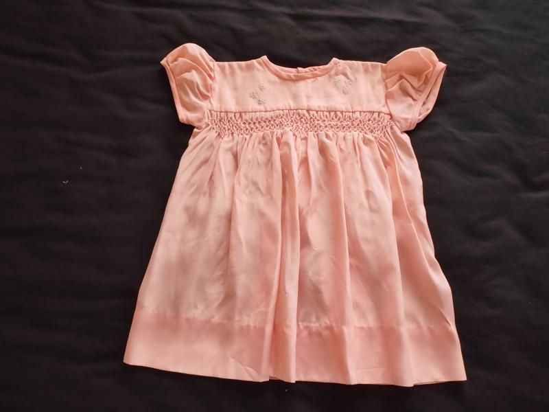 Smocked Baby Dress, Pink Satin, Circa 1950s, 1960s
