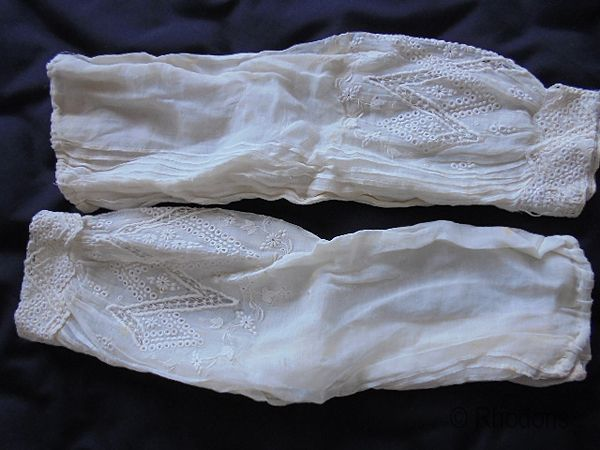 Antique Engageantes Sleeves, Muslin White Work Embroidery & Lace