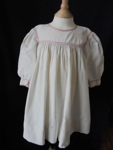 Baby,Toddler Smock Dress; Embroidered Linen, Victorian Circa 1890s