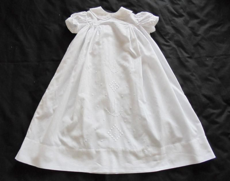 French Baby Dress With White Work Embroidery & Smocking, Circa 1920s
