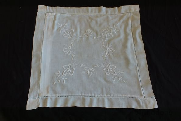 Victorian Pillow Sham Cushion Case With White Work Embroidery