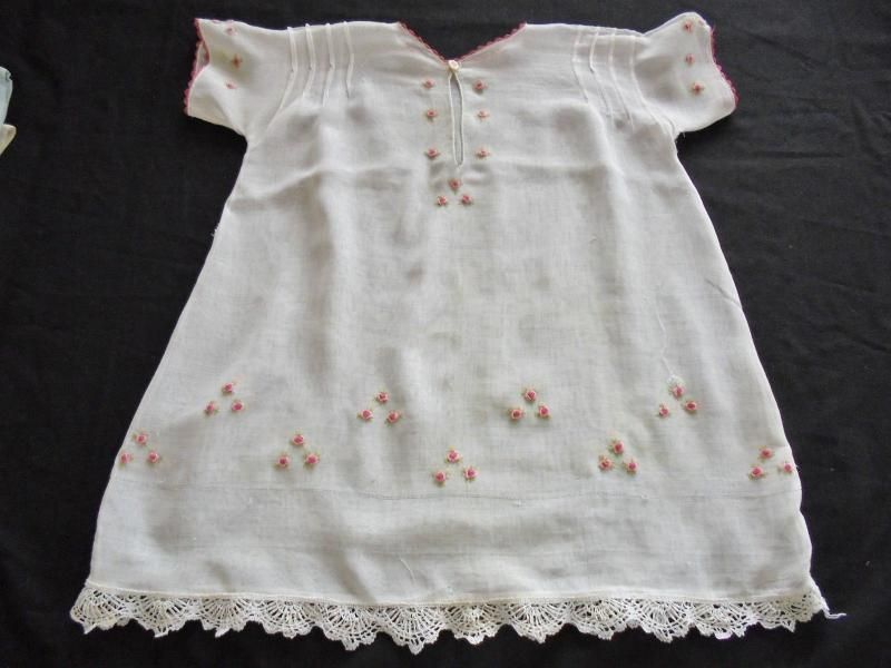 Baby Dress, Suitable For Doll Clothing. Handmade With Embroidered Silk Roses. Circa 1920s