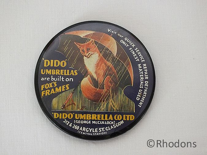 Advertising Pocket Mirror, DiDo Umbrellas Glasgow, Fox Frames, 1950s