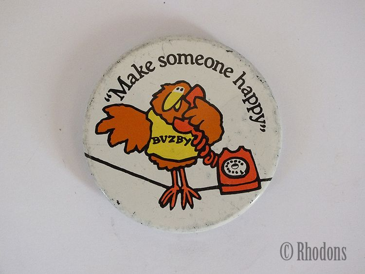 BT, British Telecom Buzby Button Badge, Make Someone Happy, Vintage 1970s