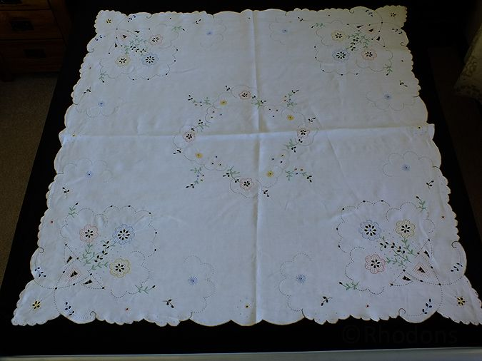 Antique Linen Tablecloth, Hand Embroidered Madeira & Cutwork