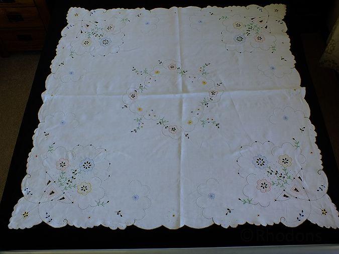 Antique Linen Tablecloth, Hand Embroidered Madeira & Cutwork
