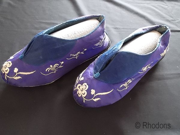 Antique Silk & Satin Embroidered Slippers or Shoes