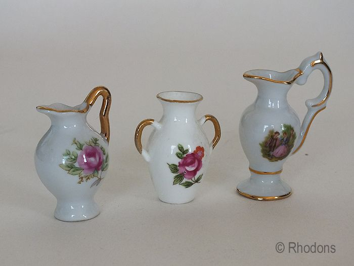 Miniature Limoges Pitchers, Urns, Ewers For Doll House Furniture