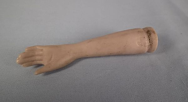 Bisque Doll Arm, Lower Arm Marked # 45