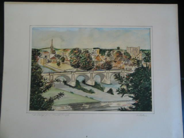 Original Watercolour Painting, Kelso Bridge Scotland, Artist Signed, Pattison
