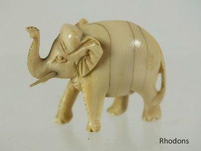 Antique Miniature Carved Ivory Elephant Figure