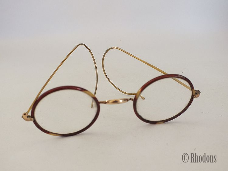 Round Framed Spectacles / Glasses,  Faux Tortoiseshell, Goldtone Frames, Early 1900s