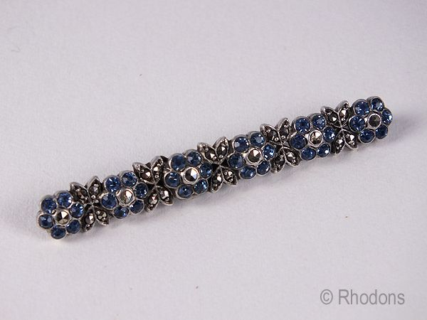 Marcasite & Paste Flower Head Bar Brooch. Early 1900s