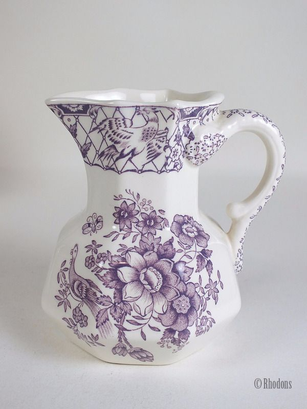 Masons Ironstone Milk Jug / Creamer, Purple & White 'Stratford' Pattern.