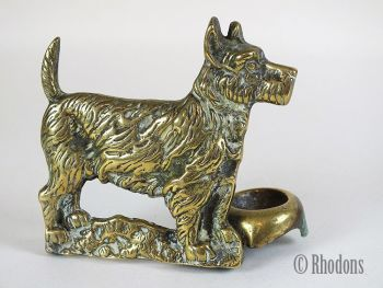 Brass Terrier Dog Figure With Bowl