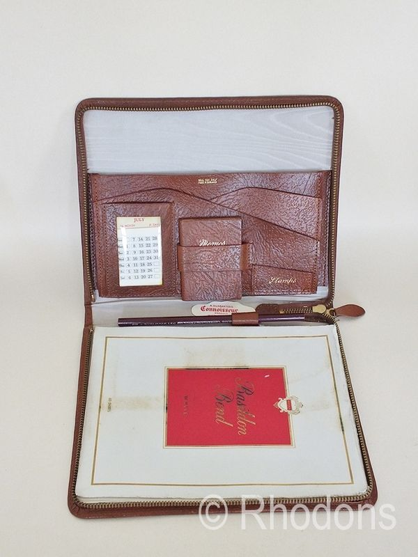 Connoisseur Real Oak Calf Leather Travel Writing Case, Circa 1960s