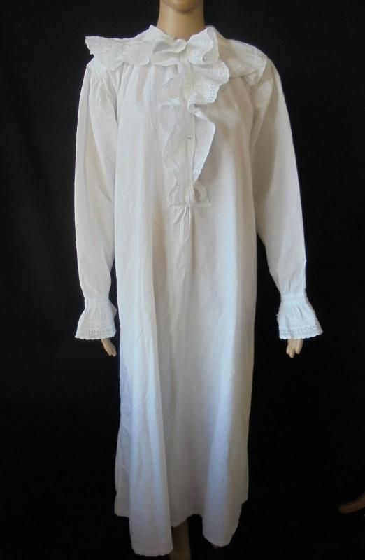 Circa 1900 Cotton Nightgown With Frilled Lace White Work & Feather Work