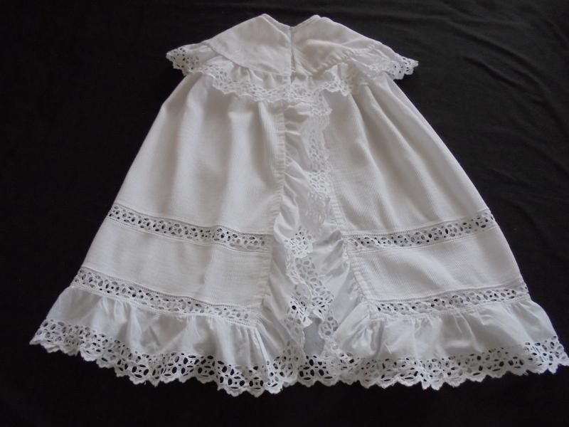 Baby Cape, Corded Cotton With Broderie Anglaise & Lace Circa 1900
