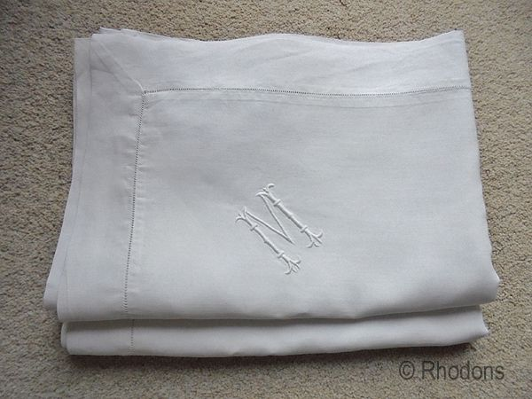 Antique Linen Oxford Pillowcases Monogrammed M Circa 1900, Large