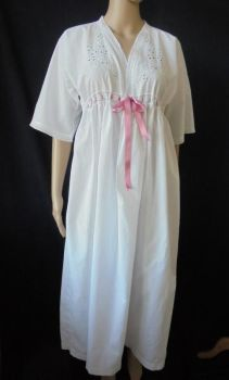 Antique Nightgown With Hand Embroidered Whitework, Circa 1920s