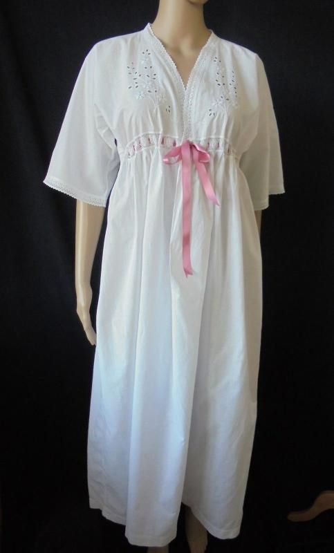 Antique 1920s Nightgown With Hand Embroidered Whitework