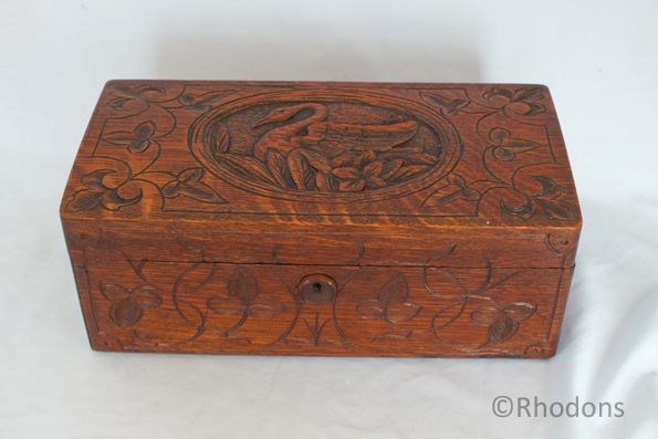 Art Nouveau Carved Wood Tea Caddy, Swan Motif to Lid