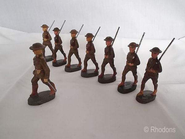 Elastolin WWI British Army Group, Officer & Marching Soldiers