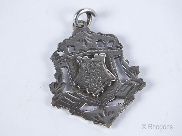 Sterling Silver Pocket Watch Chain Shield Fob, Monogram G H, Early 1900s