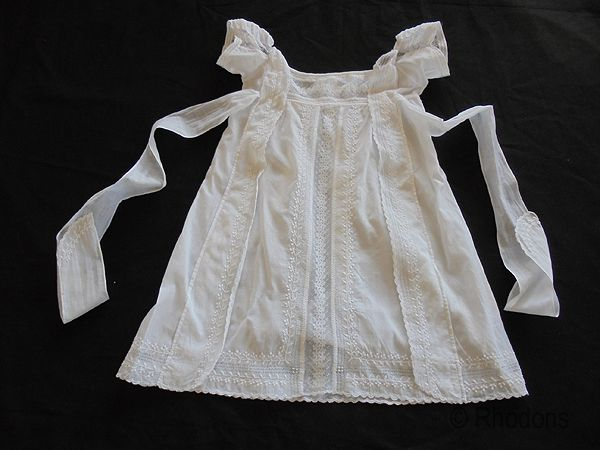 Baby Dress, Gown; Antique Handsewn Whitework Lace, Regency Period, Circa 1810