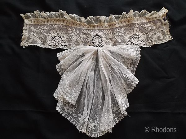 Lace High Collar & Jabot With Mauve Silk Lining, Semi Mourning Accessory