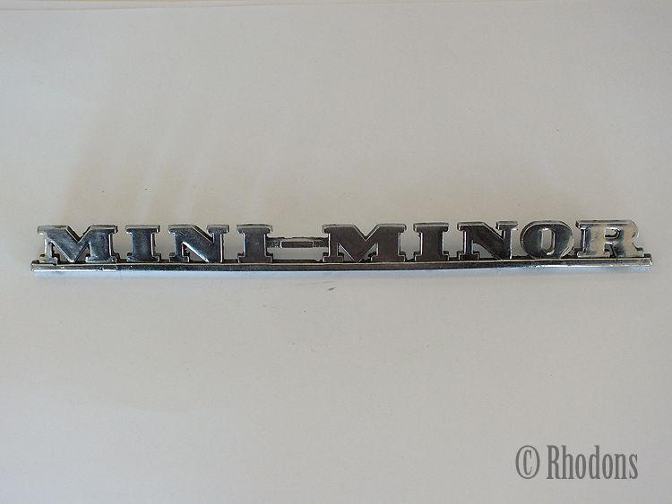 "Mini Minor Chrome Boot Lid Badge, Length 8.75"""