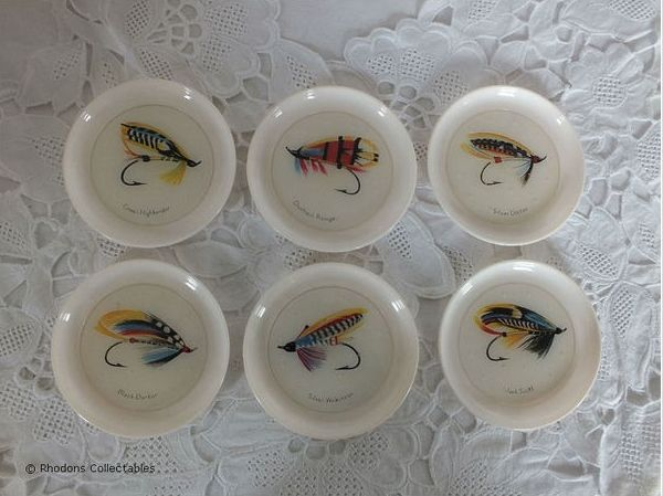 Drinking Glass Coasters Set. Fly Fishing Theme