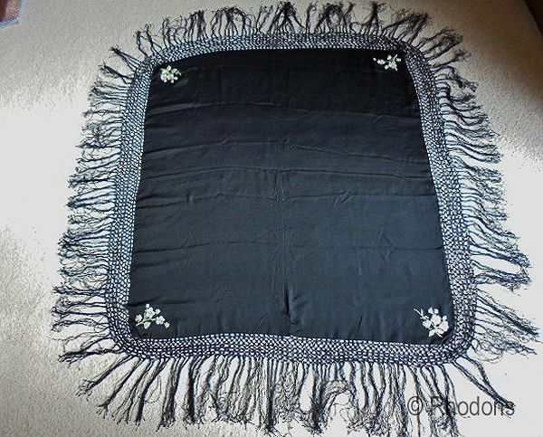 Hand Embroidered Chinese Black Silk Shawl