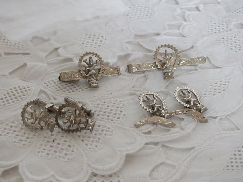 Antique Siam Silver Cuff Links & Tie Clips Circa 1920s