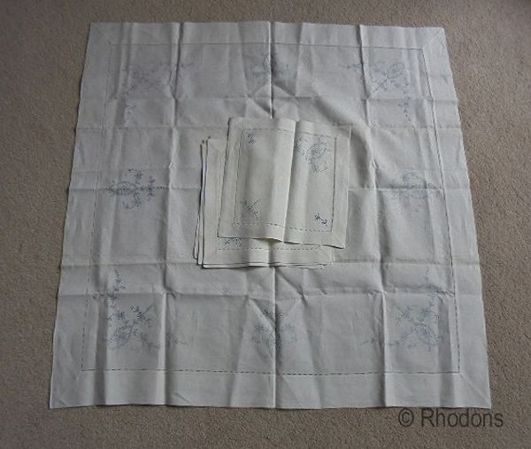 Pure Linen Tea Tablecloth, Napkins & Table Mats For Embroidery, Circa 1950s