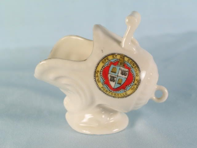 Crested China Coal Scuttle, Arms Of Portobello, Gemma China