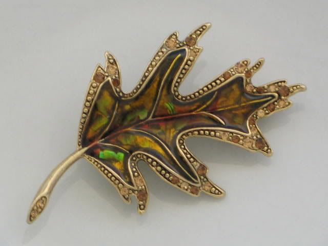 Enamel Oak Leaf Brooch. Circa 1970s
