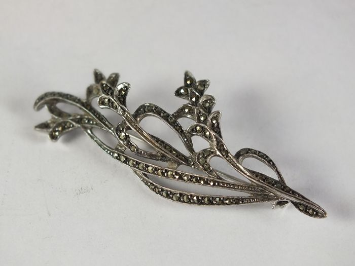 Silver Mounted Marcasite Flower Spray Brooch. Circa 1930s