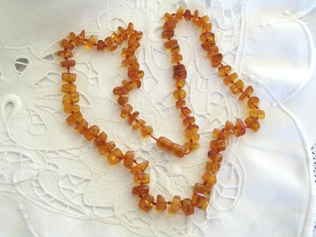 Baltic Amber Chip Necklace, 1930s
