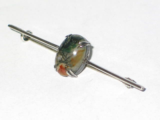 Antique Sterling Silver Bar Brooch With Moss Agate Cabochon, Art Nouveau Era